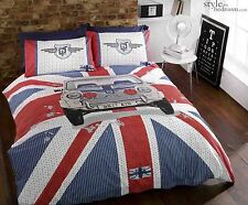 UNION JACK & Cassic MINI Cooper GT Duvet Quilt Cover Bedding Set Pillowcases