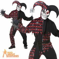 Adult Sinister Evil Jester Costume Mens Medieval Halloween Fancy Dress Outfit