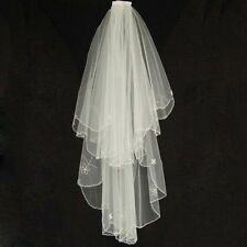new 2T ivory elbow beaded edge Pearl sequins wedding bridal veil with comb
