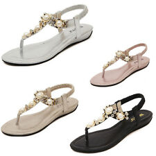 New Flip Shoes Bohemian Beaded Rhinestone Woman  Flat Sandals Large Size Shoes