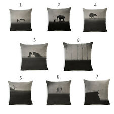 Black And White Kids Animal Cushion Cover Wolf Cotton Linen Throw Pillow Case