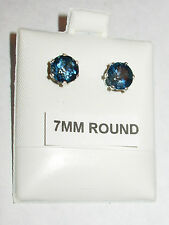 7MM ROUND LONDON BLUE TOPAZ EARRINGS STERLING SILVER! TOP GEM COLOR & QUALITY!