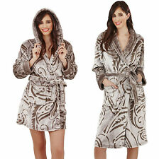New Luxury Designer Ladies Taupe Paisley Soft Short or Long Dressing Gown Robe