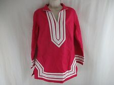 Elizabeth McKay New York Long Sleeve Red White Tunic Top Size 6          a9