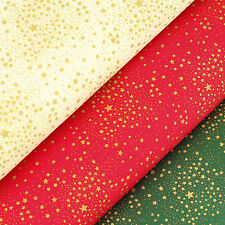Cotton Print Fabric FQ Gold Star Christmas Gift Present on Cream Red Green VK104