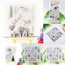 Clear Christmas Tree & Flower DIY Silicone Rubber Stamp Sheet Scrapbooking Album