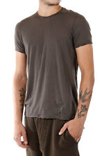 RICK OWENS DRKSHDW New Men Brown cotton Round Neck Tee T-shirt Made Italy NWT