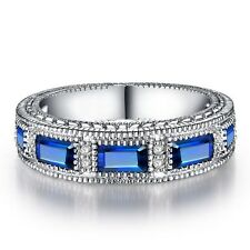 18K White Gold Plated Blue Gem Sapphire Cubic Zirconia Ring (R791-38)