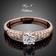 18K Rose Gold Plated 2ct Round Cut Cubic Zirconia W/ micro CZ Setting Ring R653