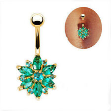Belly Button Ring Crystal Rhinestones Flower Jewelry Navel Bar Body Piercing