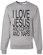 NW MENS PRINTED I LOVE JESUS FUNNY CHRISTIAN GOD LOVE FLEECE LONG SLEEVE T-SHIRT