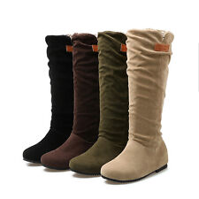 Women's Wedge Heel Flat Shoes Suede Fabric Round Toe Mid Calf Boots AU Size O511