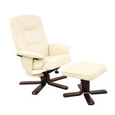 PU Leather Lounge Recliner Chair Ottoman Beige & White