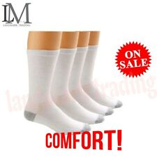 New 12 Pairs CREW Mens Solid Sports Socks Cotton 10-13 13-15 White LOT USA LONG