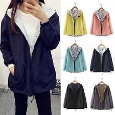 Fashion Women's Two Sides Wear Warm Hooded Long Coat Jacket Windbreaker Outwear