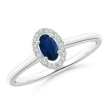 Natural Oval Blue Sapphire Diamond Halo Engagement Ring 14k White Gold Size 8