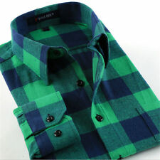 Flannel Warm Men Classic Long Sleeve Plaids Checks Cotton Casual Dress Shirt Top