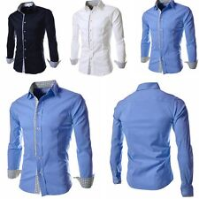 Luxury New Fashion Mens Slim Fit Shirt Long Sleeve Dress Shirts Casual Shirts LS