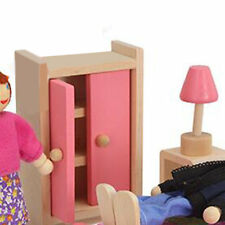 New Wooden Furniture Dolls House Miniature 6 Room Type Learn Toys for Kids I6
