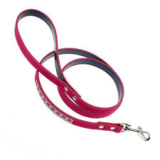 "44"" Suede+PU Leather Dog Leash Puppy Bling Rhinestone Outdoor Pet Walking Lead"