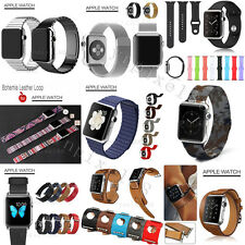 Various Genuine Leather Steel Wrist Watch Band Strip For Apple Watch Series 1 2