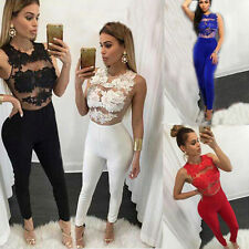 Sexy Women Lace Jumpsuits Bodycon Halter Rompers Fashion Casual Sleeveless Dress
