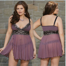 Plus SZ Sexy Lingerie Babydoll Sleepwear Underwear Lace Dress G-string Nightgown