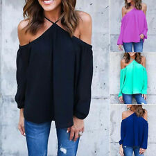 Summer Womens Sexy Off Shoulder Long Sleeve Blouse Casual T-Shirt Tops Blouse