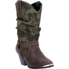 Dingo Womens Brown/Camo Olivia Leather Cowboy Boots 10in Shaft
