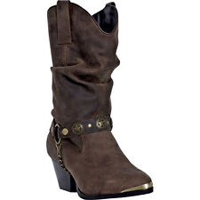 Dingo Womens Dark Brown Olivia Leather Cowboy Boots 10in Shaft