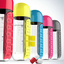 Daily Pill Box Organizer With Water Bottle Portable 7 Compartments Drink Bottle
