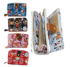 LADIES GIRLS WOMENS SMALL GIFT BLACK, RED, BLUE NOVELTY OWL ZIP PURSE WALLET