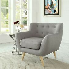 CONTEMPORARY BROWN GRAY UPHOLSTERED ARMCHAIR ACCENT CHAIR LIVING ROOM FURNITURE