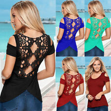 Women Sexy Casual Short Sleeve Lace Off-shoulder T-Shirt Hollowed Back Tops New
