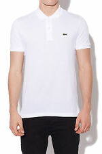 New LACOSTE Mens Slim Fit Polo White