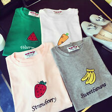 Women Fashion Summer Basic T-Shirt Cute Fruit Print Short Sleeve Tee Blouse Tops