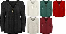 Womens Cable Knitted Jumper Ladies Long Sleeve Zip V Neck Plain