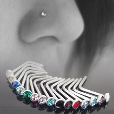 Fashion 10pcs Crystal Nose Ring Bone Piercing Stud Screw Rings Stainless Steel
