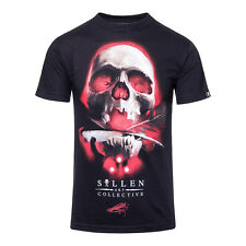 Sullen Robertson Skull Tattoo Print Mens Black T Shirt - Gothic Style Tee