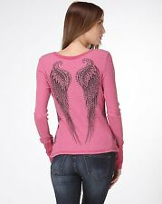 Sexy & Sinful Crew Neck Long Sleeve Thermal Angel Wings Crosses Western S M L XL