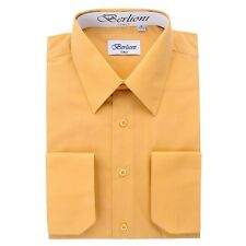 Berlioni Italy Solid Mens Dress Shirt Italian French Convertible Cuff - Mustard