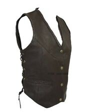 New Womens Brown Real Leather Motorcycle Side Laced Up Biker Waistcoat/Vest