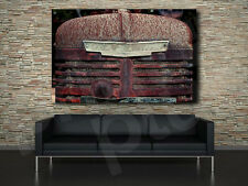 Old Rusted Tractor Grill With Retro Insignia Canvas Art Poster Print Wall Decor