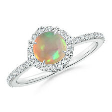 Round Natural cabochon Opal Diamond Halo Engagement Ring 14k White Gold Size 7