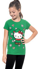 Hello Kitty Girls Green Christmas T-Shirt