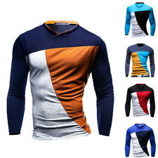 Men's Fashion Simple Style Casual Contrast Color Long Sleeve Collarless T-Shirt