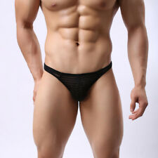 Men Low Waist See Through Mesh Micro Briefs Sheer G-String Thongs Sexy Underwear