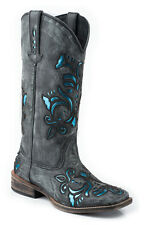 Roper Womens Cowboy Boots Black Square Toe Sanded Leather Western Underlay