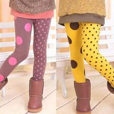 Lovely Kids Girls Winter  Leggings Elastic Waist Slim Pants Dots Trousers