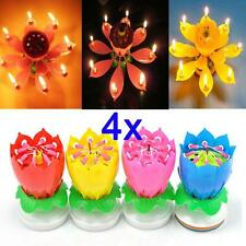 4X Romantic Happy Birthday Music Play Lotus Candle Magic Musical Candle Flower*